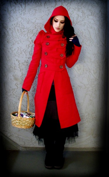 Military red riding hood coat
