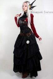 Dark red open-bust tailcoat