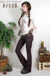 Dark mauve/brown stretch corduroy pants