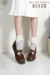 Brown leather Mori Kei Mary Janes