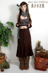 Chocolate Linen knee length mori skirt