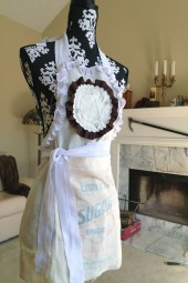 50% OFF!  Doily rosette apron. ON SALE